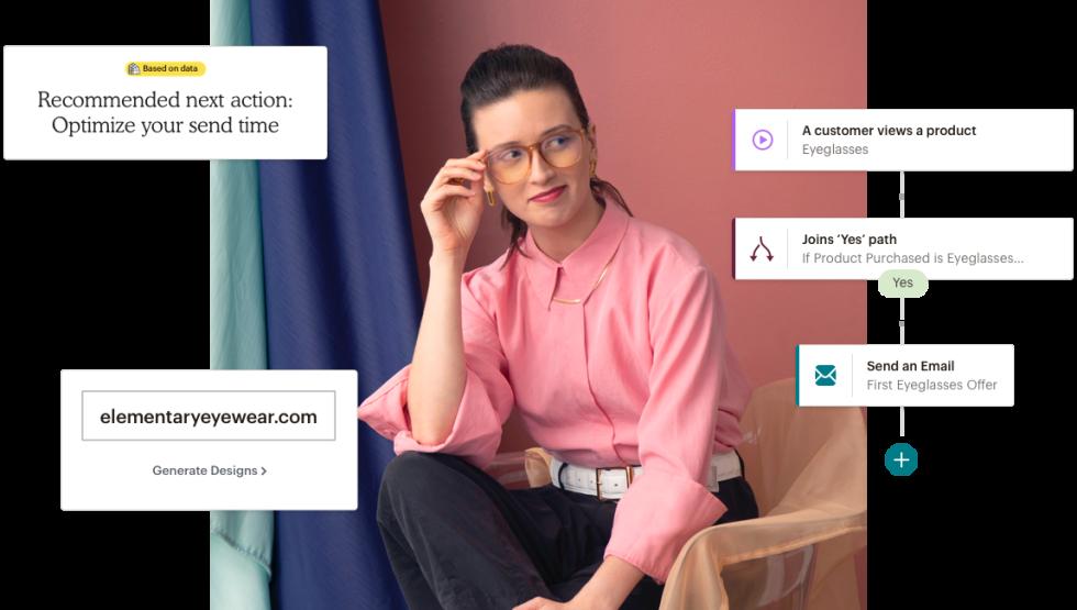 A woman wearing her glasses from elementaryeyewear.com