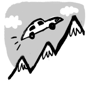 Illustration of a car flying over mountains
