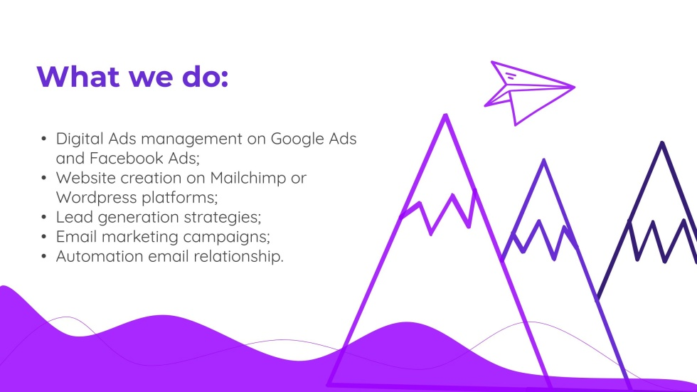 Image of cartoon mountains and a paper airplane flying over them with the text What we do.