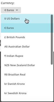 cambio de divisa para el método de pago
