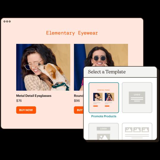 Landing Page Templates Abstract UI Elementary Eyewear Static