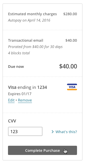 Example of bill showing cost of adding Mandrill.