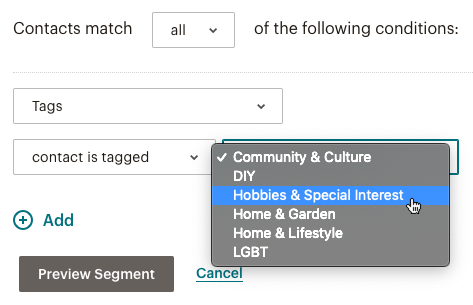 Example of segmenting conditions based on tags.