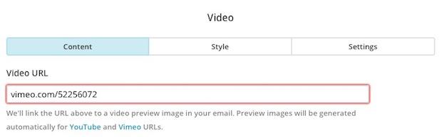 Pantalla del campo URL del vídeo con un resaltado en rojo alrededor.