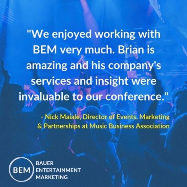 "Image of a concert with text ""We enjoyed working with BEM very much. Brian is amazing and his company's services and insight were invaluable to our conference."""