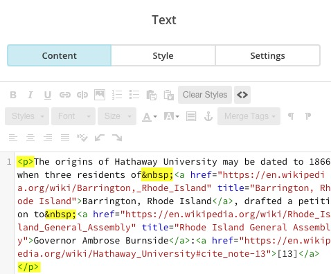 Text content block in source code view, with highlighted examples of the code that should be deleted or replaced.