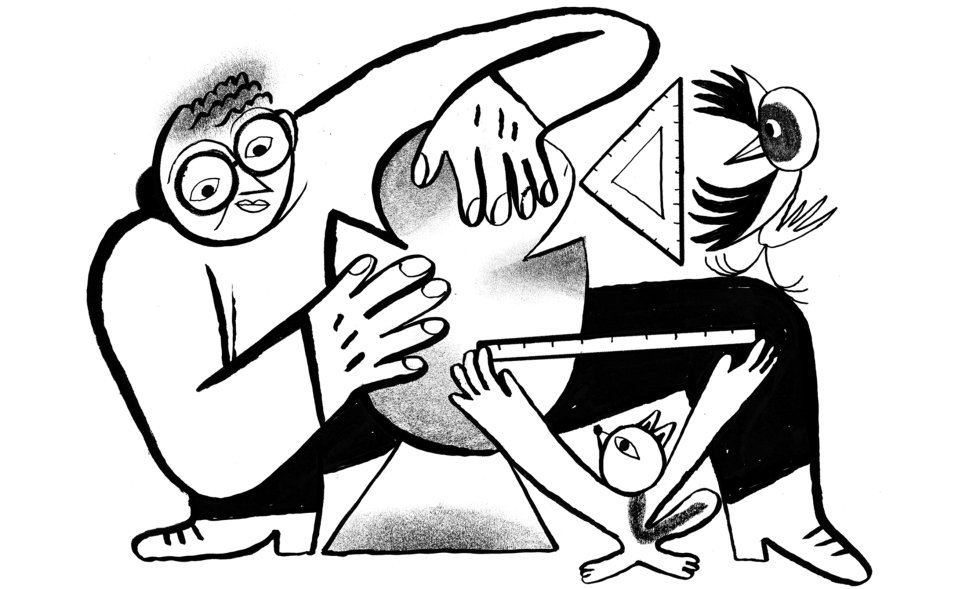 Illustration of artist sculpting abstract shape