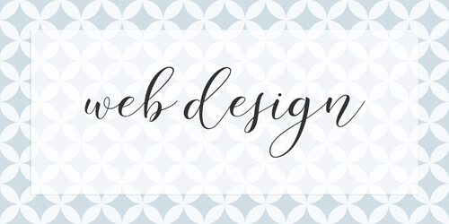 "Graphic design illustration showing the words ""web design"" in a cursive font against a patterned blue background."