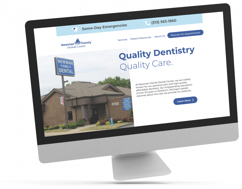 """Image of a computer screen with text """"Quality Dentistry, Quality Care."""""""