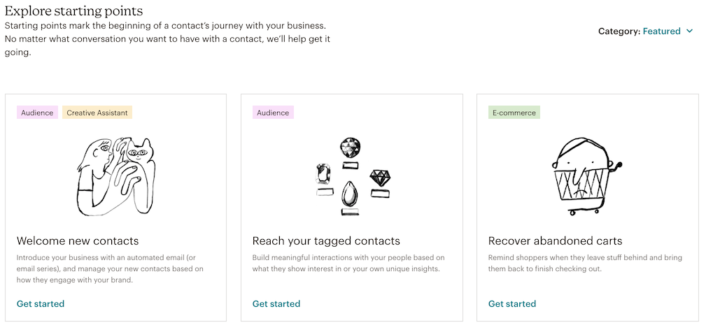 Example of Explore page for customer journeys with the options welcome new contacts, reach your tagged contacts, and recover abandoned carts