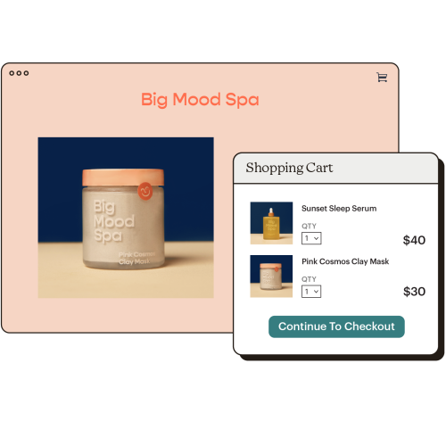 Example of a stores homepage, with a second panel that includes items in a shopping cart.