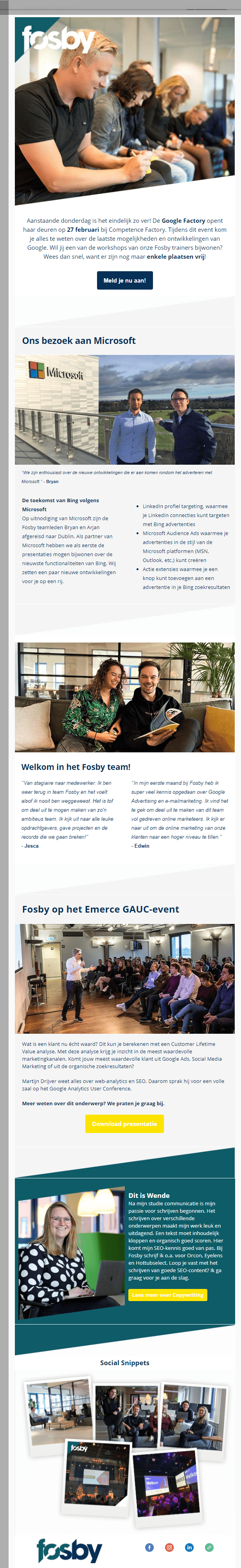Image of a Fosby newsletter with highlights of the Fosby team in front of Microsoft, Google Factory, and an Emerce GAUC event.