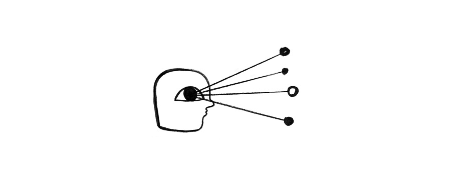 A drawing of a floating head visualizing some data points.