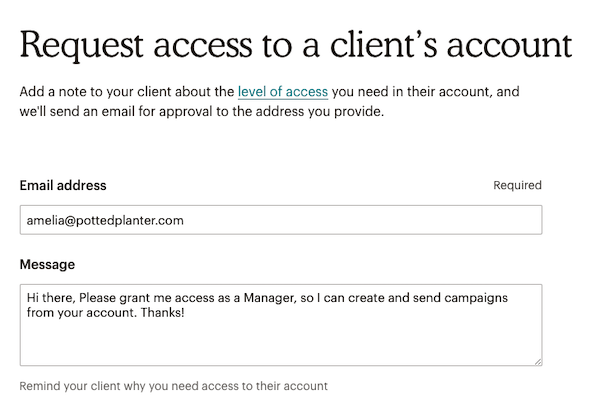 Client account access form