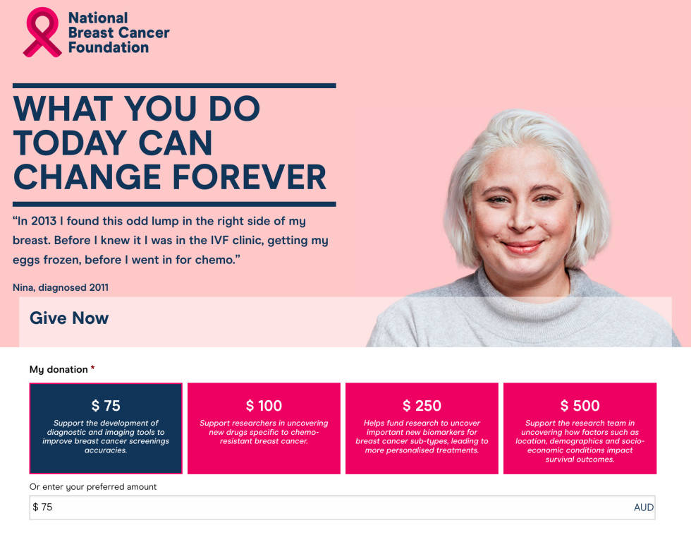 """Image of National Breast Cancer Foundation webpage, """"What you do today can change forever."""""""