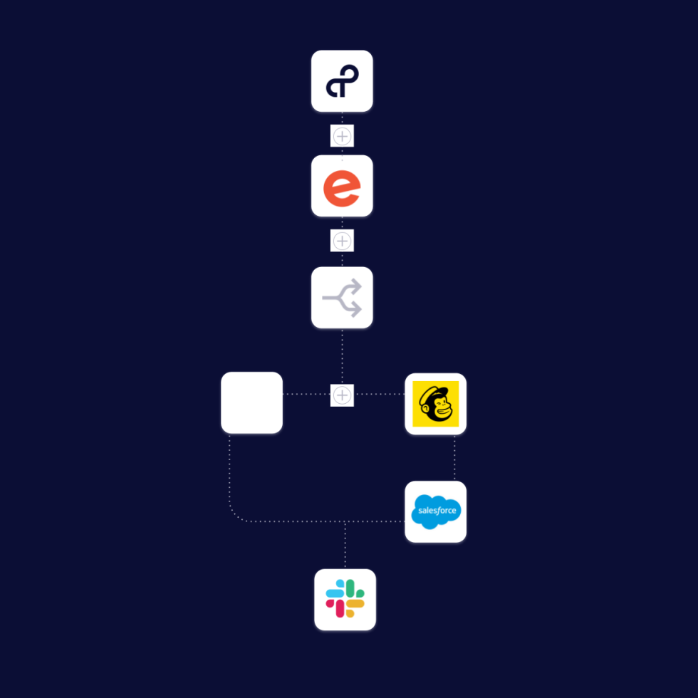 Image of tray.io logo connecting to other logos
