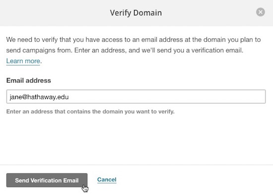 click button to send verification email