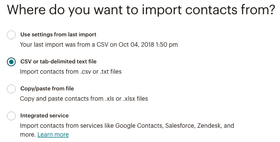 import from csv or text file