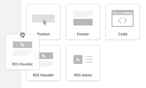 Click and drag RSS Header into campaign layout