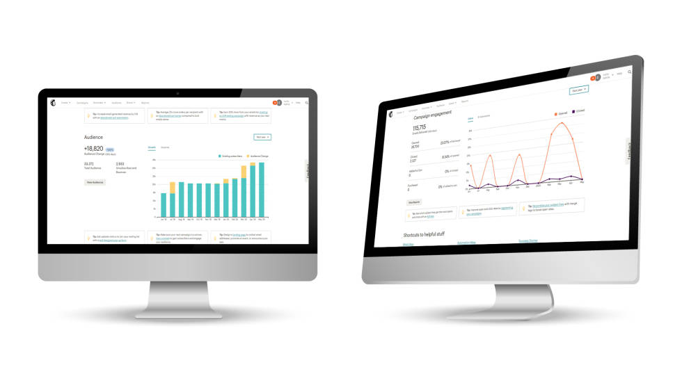 Image of 2 desktops with charts and graphs.