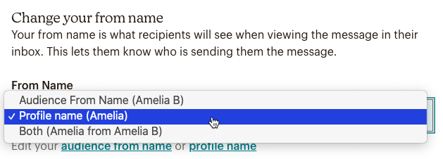 Change your from name dropdown