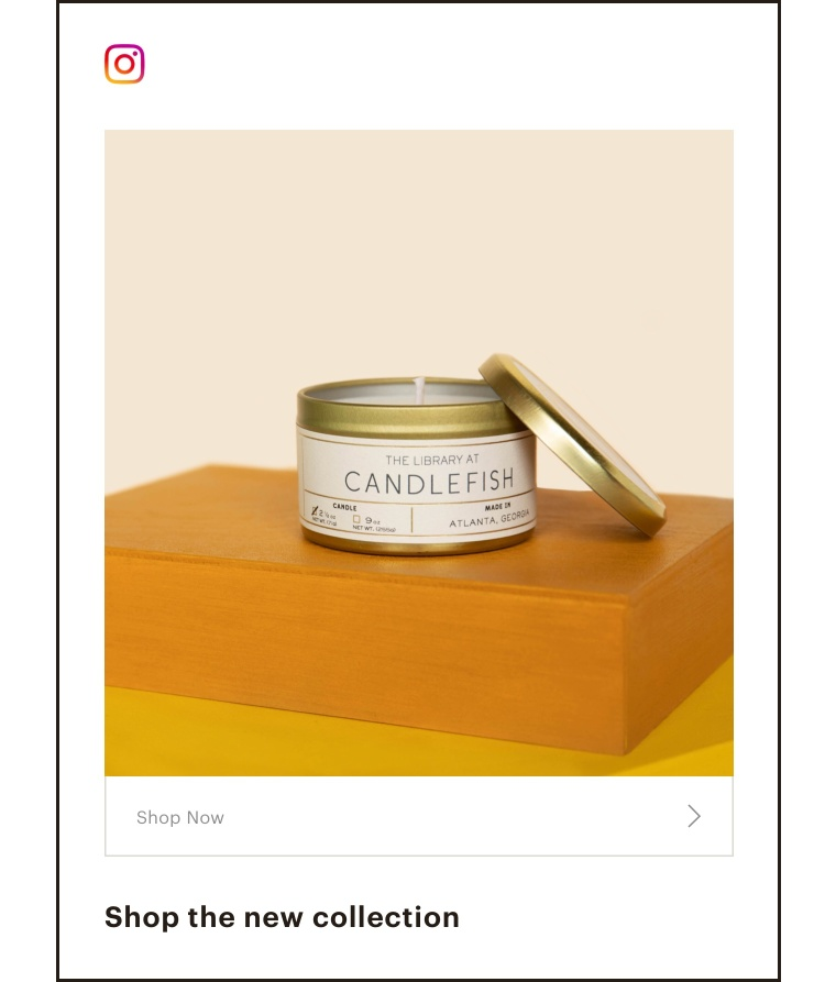 An instagram ad with a fine lookin candle