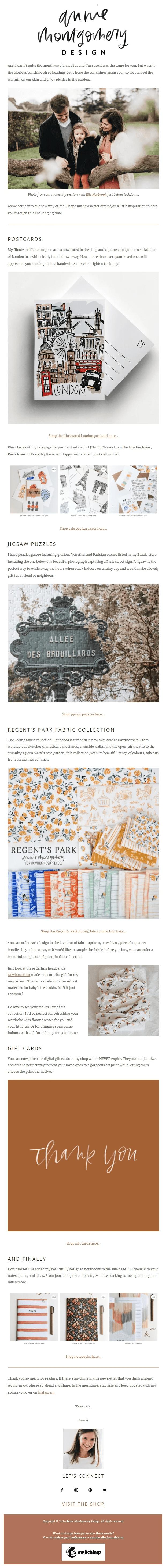 Image of Annie Montgomery Design newsletter