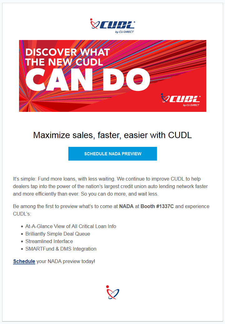 Email newsletter template. White background with logo at top center of page. Below the logo is a red rectangle box that lays horizontally across the page. White, capitalized text inside which appears to be the slogan. White logo in right bottom corner of red box. Below, black and bold text as CTA with an accompanying blue contact button. Below, left-aligned text in a smaller font with supporting bullet points.