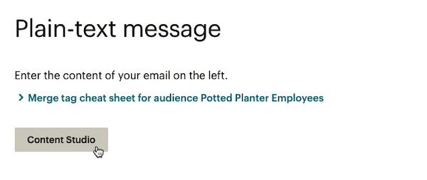 El cursor hace clic - Content Studio - editor de campaña de texto sin formato