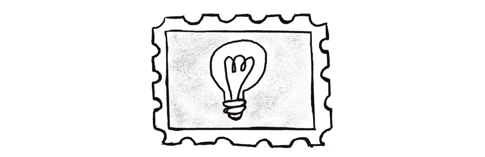 Illustration of a lightbulb inside of a stamp