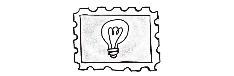 Illustration of a lightbulb inside of a stamp