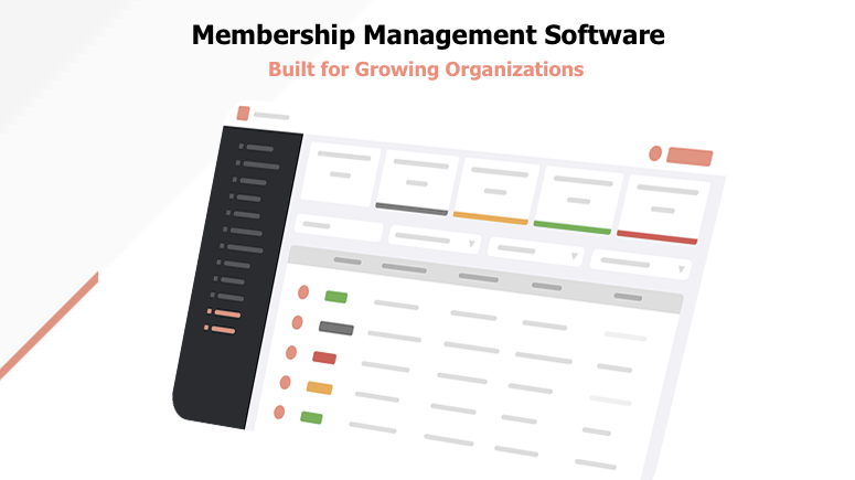 Image of a dashboard with the text membership management software built for growing organizations