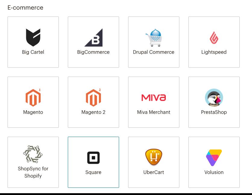 Mailchimp Connected Sites Page - E commerce Integrations