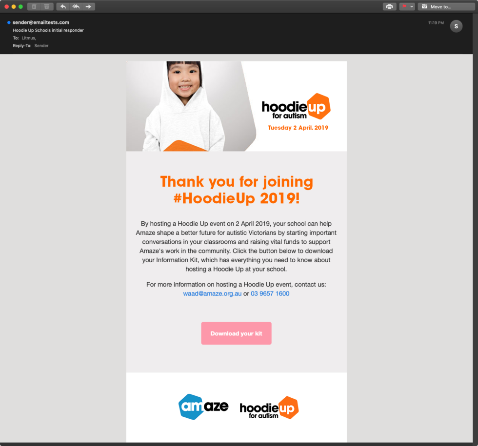 An email template built for Hoodie Up