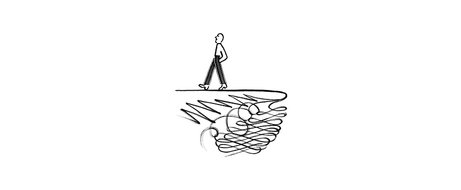 A drawing of a person walking away from the edge of a cliff.