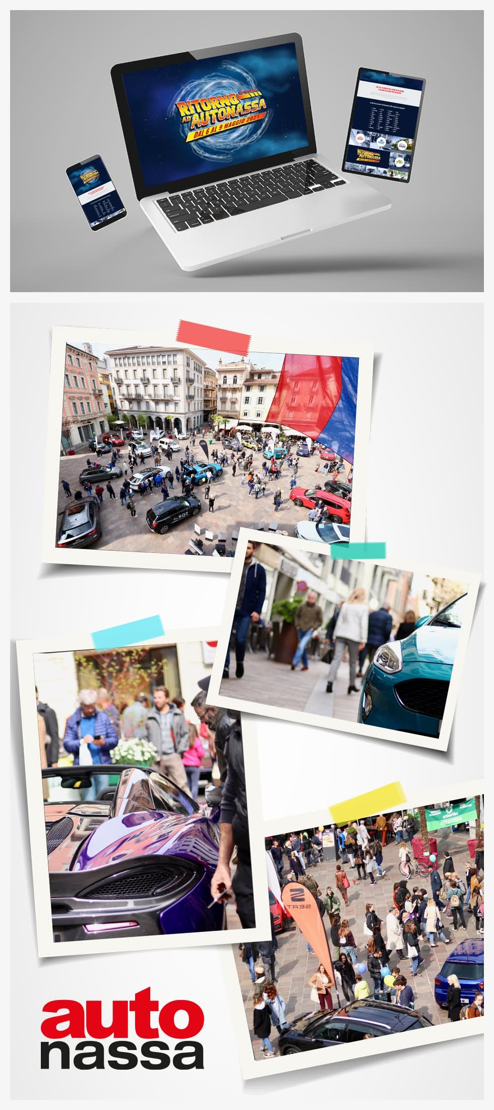 """Image of a webpage and multiple images of crowds with text """"Auto nassa"""""""
