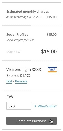 Example of billing total that includes Social Profiles.