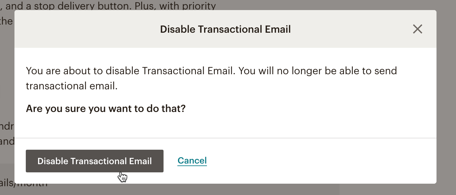 Cursor clicks Disable Transactional Email in modal