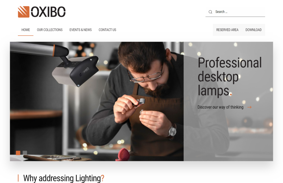 Image of Oxibo website with text professional desktop lamps