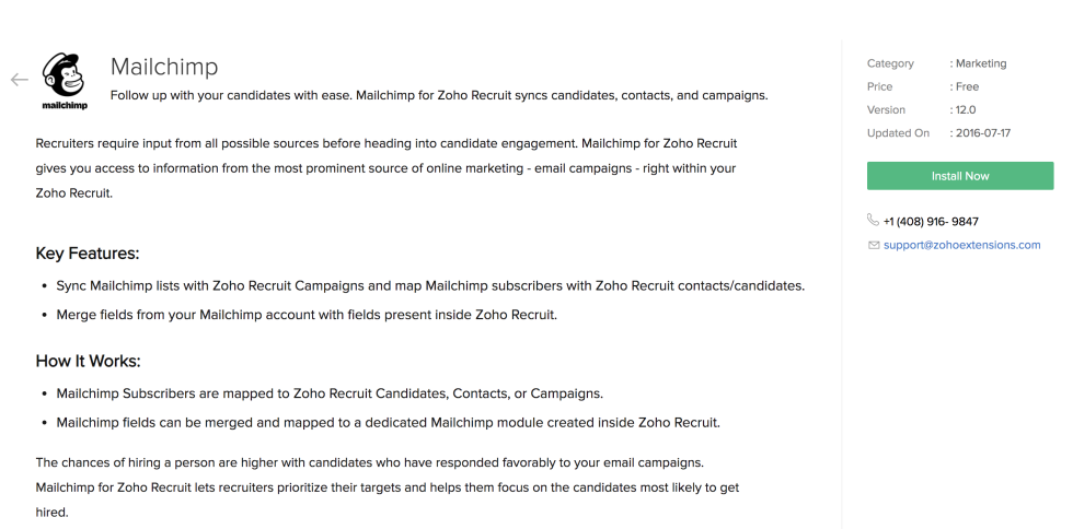 Install page for Zoho Recruit integration