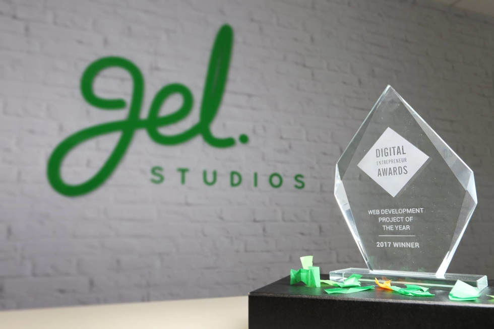 Photograph of an award won by Gel Studios