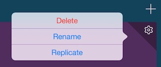 Screen of the expanded Settings menu, with Delete, Rename, and Replicate options.