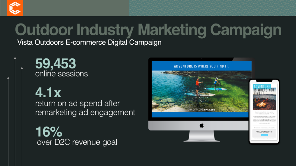 "Image of a computer and phone screen with text ""Outdoor Industry Marketing Campaign"""