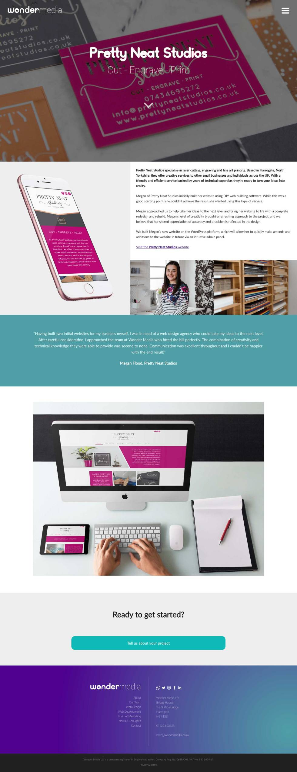Email template. Page can be split into six parts. At the top, image of yellow, pink and grey branded cards sitting on a table slightly faded. White logo at the center of the image. Below, iPhone screen displays mobile version of website homepage. To the right of the iPhone, a small paragraph with black lowercase text against a white background. Below the text, two photos side by side (a woman smiling and a bookshelf) Below the iPhone and text with accompanying images, another image of aerial view of person sitting at Mac desktop with desktop version of website. Below this, green contact button along with more information and branding.