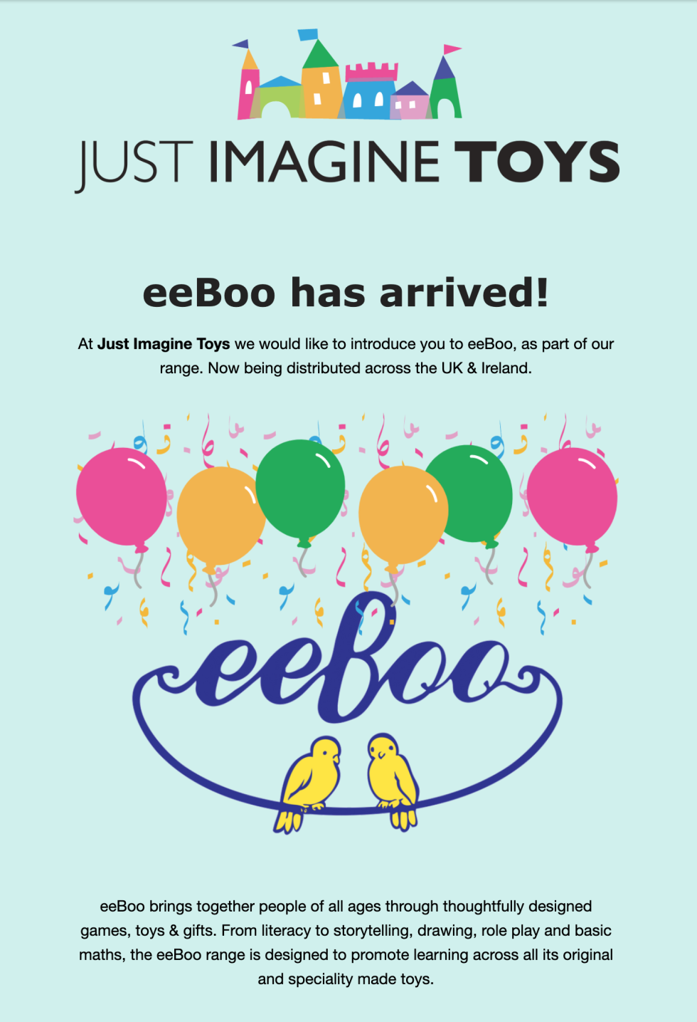 Product launch e-mail with the text just imagine toys