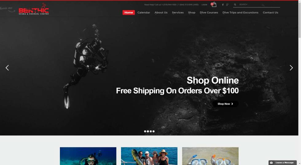 Website screenshot featuring background photo of scuba diver underwater. CTA in large white text overlays and to the right. Navigation bar and logo at top. Grey, red, black, and white color scheme.