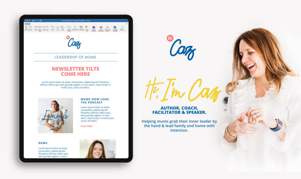 "Image of an ipad and women with the words, ""Caz: Hi,I'm Caz"""