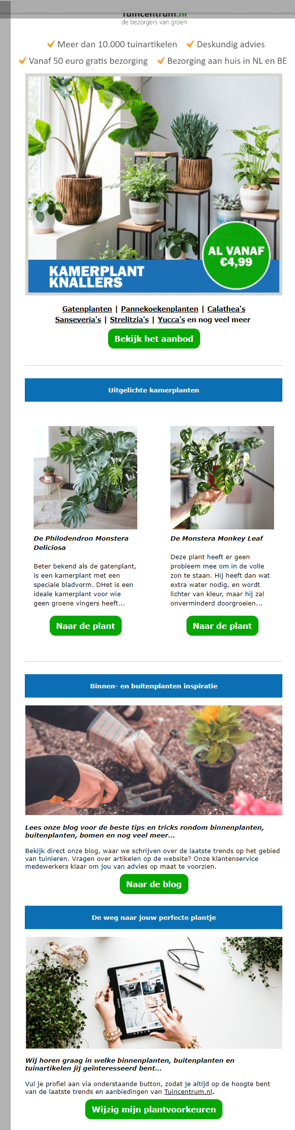 """Image of a newsletter for plants with text """"Kamerplant Knallers"""""""