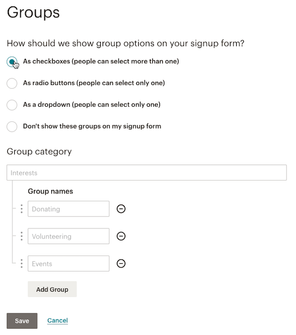 Setting up Mailchimp groups
