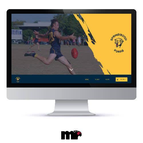 Macbook desktop displaying custom website. Includes faded background image alongside a logo on the right. Navigation bar below.